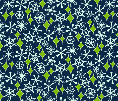 Mod Geo Xmas: Snowstorm fabric by bronhoffer on Spoonflower - custom fabric