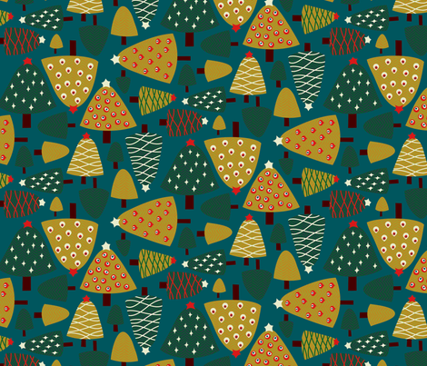 Mod Geo Xmas: Trees fabric by bronhoffer on Spoonflower - custom fabric