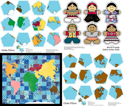 Montessori Geography Saver Set fabric by evenspor on Spoonflower - custom fabric