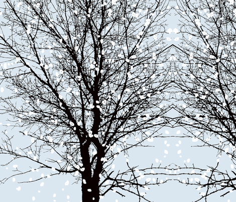 Tree Face with snow fabric by mur on Spoonflower - custom fabric