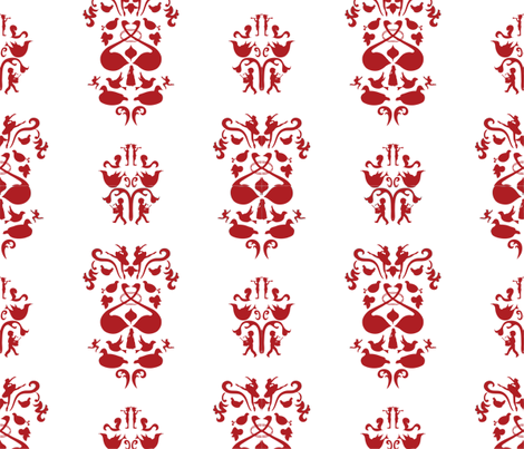 12 Days of Christmas Damask fabric by ladybugjen on Spoonflower - custom fabric