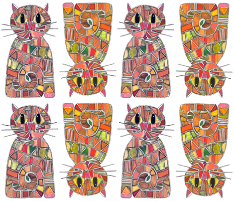 mosaic cats fabric by scrummy on Spoonflower - custom fabric