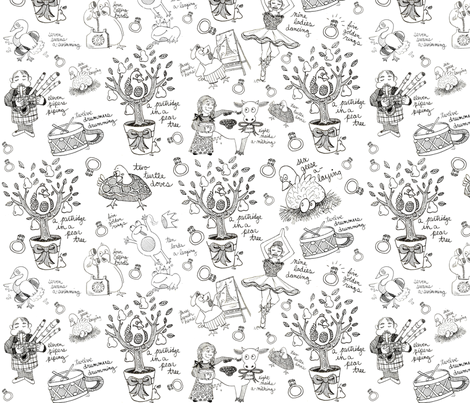 My True Love Toile  fabric by asilo on Spoonflower - custom fabric