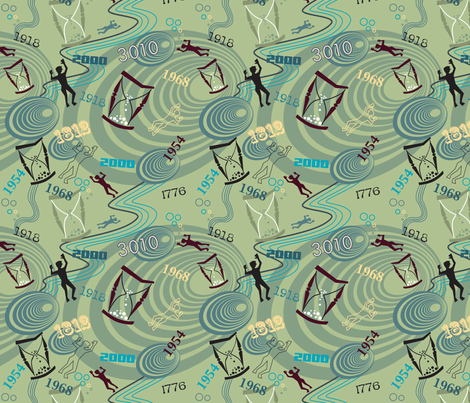 Time Travel Green fabric by vinpauld on Spoonflower - custom fabric