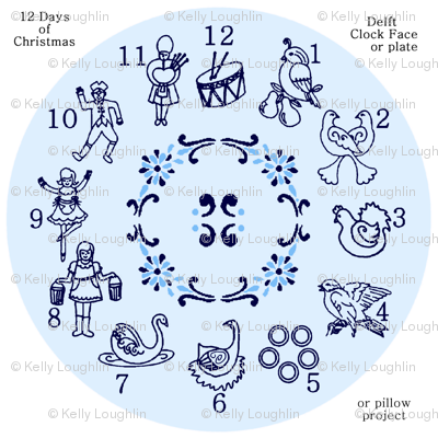 12 days of Christmas Delft Style Clock Face Kit