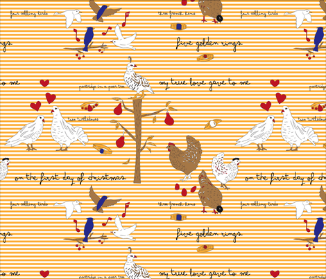 Twelve Days of Xmas fabric by dynasty_b on Spoonflower - custom fabric