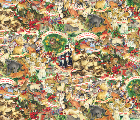 Cats of Christmas fabric by peggytoole on Spoonflower - custom fabric