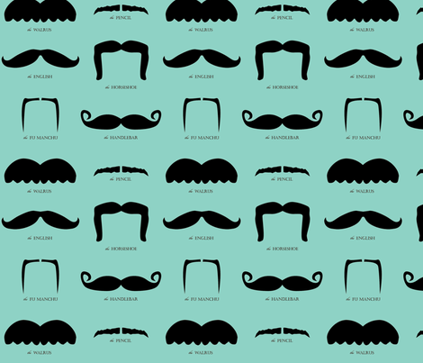 mustache gallery- blue fabric by avelis on Spoonflower - custom fabric