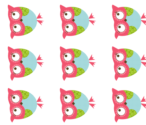 Baby Owl Horizontal fabric by natitys on Spoonflower - custom fabric