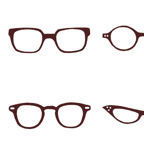 Retro Glasses Frames-White Background