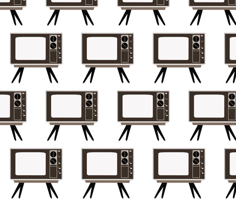 Retro TV - White Background fabric by dorolimited on Spoonflower - custom fabric