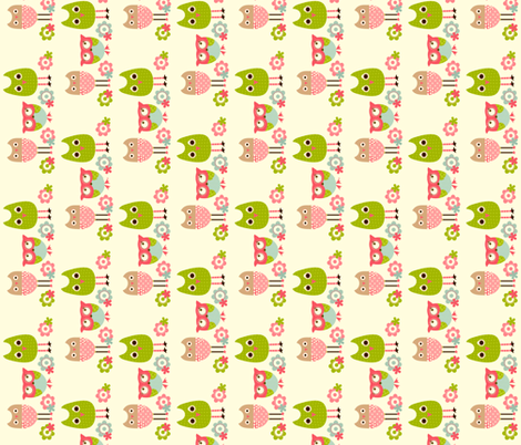 Tiny Whimsy Owls Horizontal fabric by natitys on Spoonflower - custom fabric