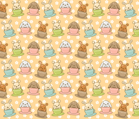 Buns in Teacups fabric by greencouchstudio on Spoonflower - custom fabric
