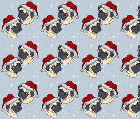 Christmas Pugs fabric by theartfulhorse on Spoonflower - custom fabric