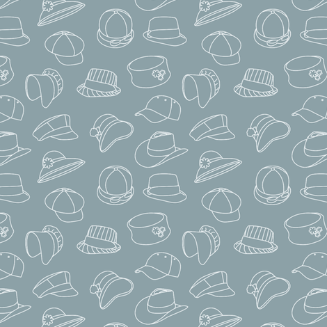 Vintage Hats Through Time (Grey) fabric by greencouchstudio on Spoonflower - custom fabric