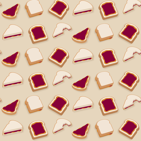 (Medium) Peanut Butter & Jelly Sandwiches fabric by greencouchstudio on Spoonflower - custom fabric