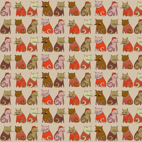 Sweater Cats in Red fabric by papersparrow on Spoonflower - custom fabric