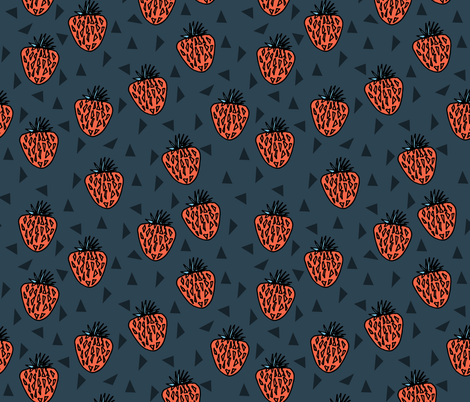 Very Strawberry - Parisian Blue/Coral/Soft Blue fabric by andrea_lauren on Spoonflower - custom fabric