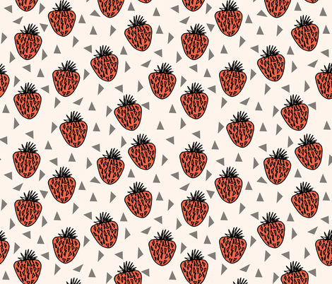 Very Strawberry - Cream fabric by andrea_lauren on Spoonflower - custom fabric