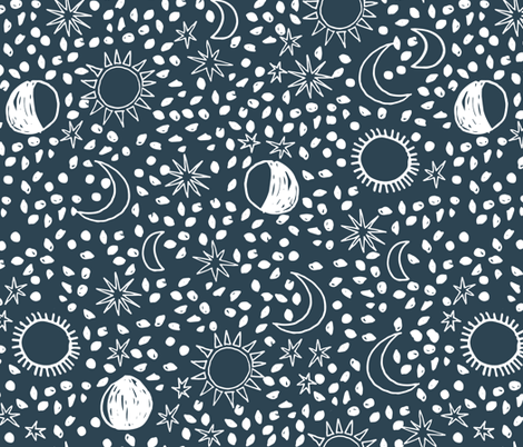 Sun, Moon, Stars -  Parisian Blue/White by Andrea Lauren fabric by andrea_lauren on Spoonflower - custom fabric