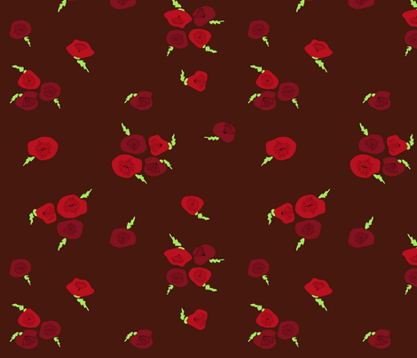 Poppies (brown) fabric by leighr on Spoonflower - custom fabric