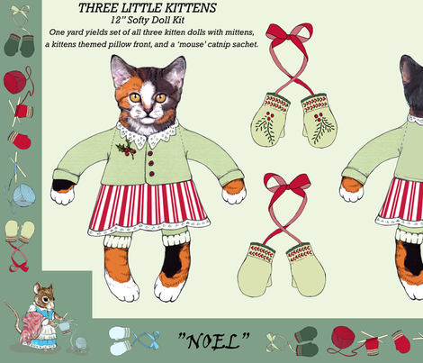Three Little Kittens -- 'Cut-n-Sew' Doll Kit fabric by hauteideas on Spoonflower - custom fabric