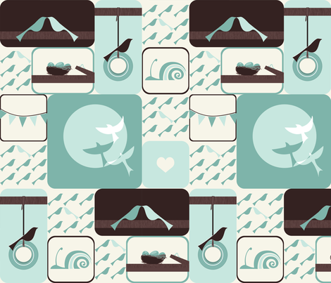 Bird Sampler fabric by ttoz on Spoonflower - custom fabric