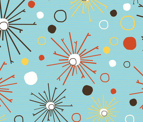 Blast pattern on blue fabric by kamiekazee on Spoonflower - custom fabric