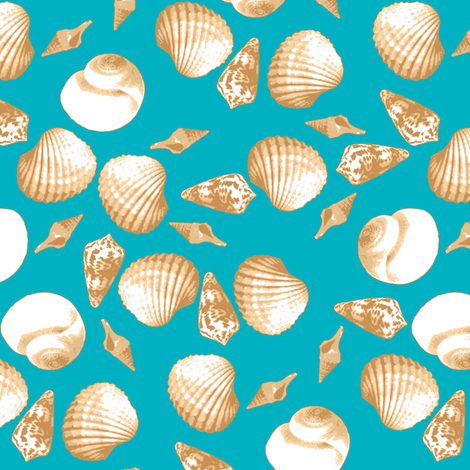 Shell-Mell - Biscuit-Tropical Seas fabric by inscribed_here on Spoonflower - custom fabric