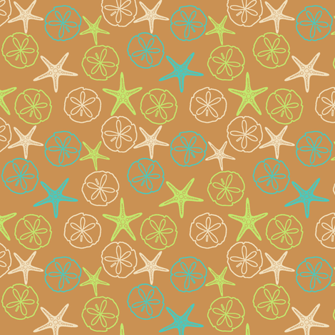 Sea Gifts - Dark Biscuit fabric by inscribed_here on Spoonflower - custom fabric