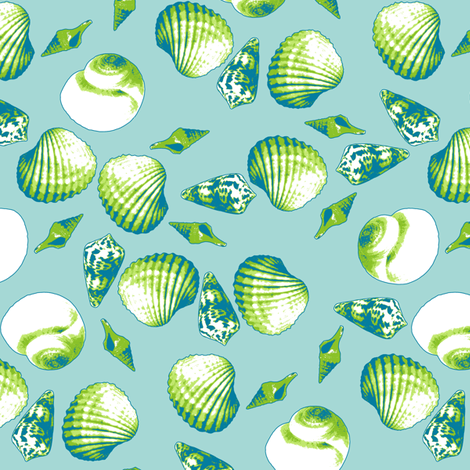Shell-Mell - Seaweed-Tropical Seas fabric by inscribed_here on Spoonflower - custom fabric