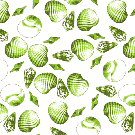 Shell-Mell - Seaweed-White fabric by inscribed_here on Spoonflower - custom fabric