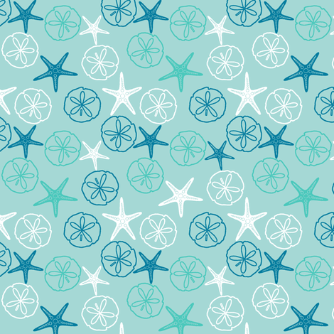 Sea Gifts - Tropical Seas fabric by inscribed_here on Spoonflower - custom fabric