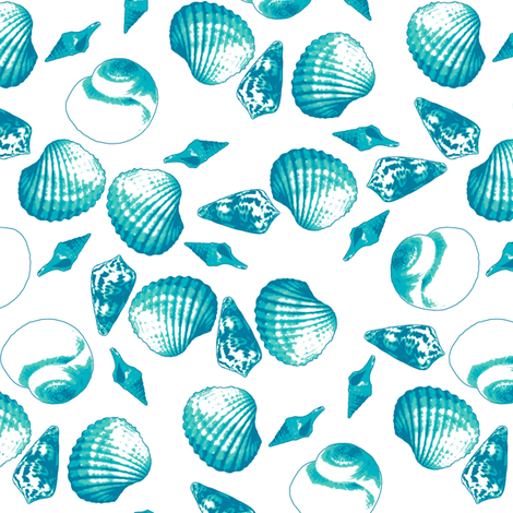 Shell-Mell - Tropical Seas-White fabric by inscribed_here on Spoonflower - custom fabric