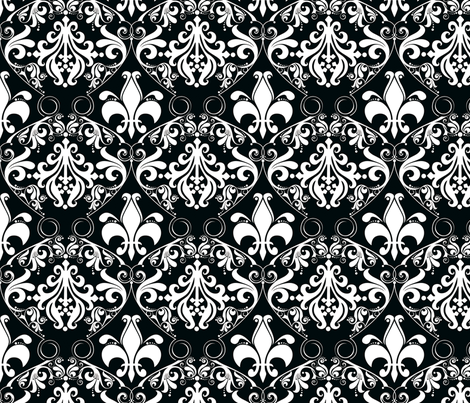 Trés Chic Black & White Damask fabric by kamiekazee on Spoonflower - custom fabric