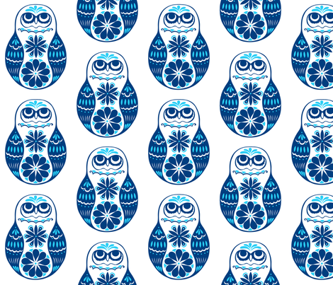 Flower Owls, Solo, in Blue fabric by havemorecake on Spoonflower - custom fabric