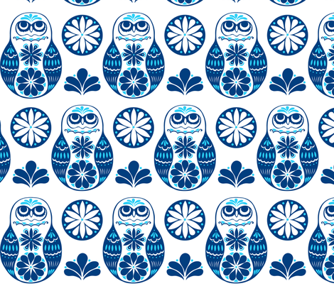 Flower Owls in Blue fabric by havemorecake on Spoonflower - custom fabric