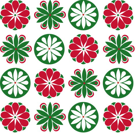 Winter Flowers in Red and Green