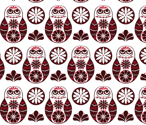Flower Owls in Red fabric by havemorecake on Spoonflower - custom fabric