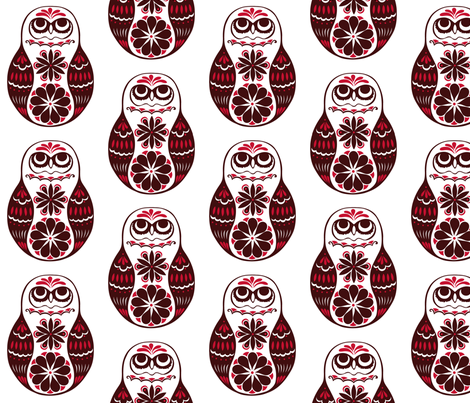Flower Owls, Solo, in Red fabric by havemorecake on Spoonflower - custom fabric