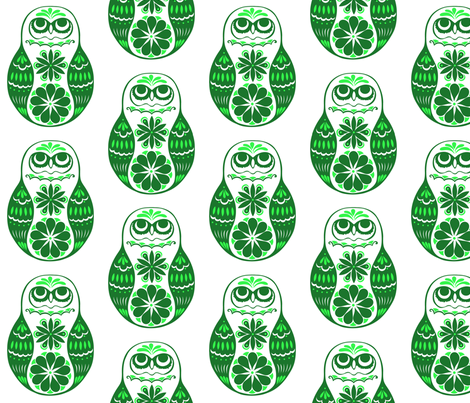 Flower Owls, Solo, in Green fabric by havemorecake on Spoonflower - custom fabric