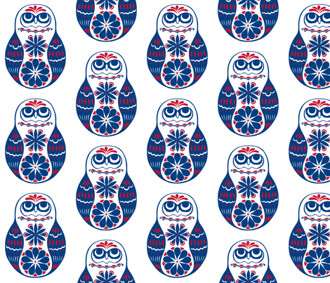 Flower Owls, Solo, in Blue and Red fabric by havemorecake on Spoonflower - custom fabric
