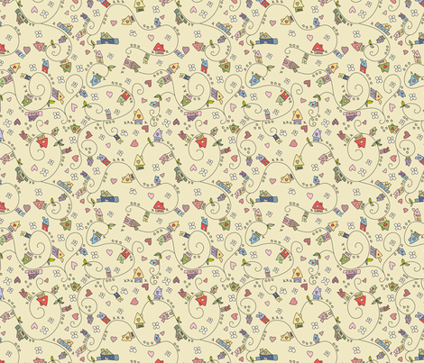 Dreamy houses  fabric by catru on Spoonflower - custom fabric
