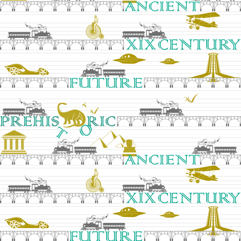 Time Travel Express ( zoom for details, please) fabric by newmom on Spoonflower - custom fabric