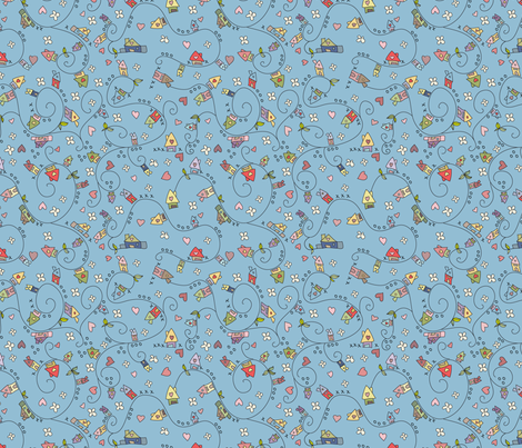 Dreamy houses in blue fabric by catru on Spoonflower - custom fabric