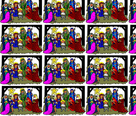 Nativity Scene (repeat, colored) fabric by rengal on Spoonflower - custom fabric