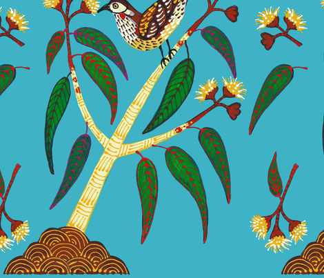 BlueWattleBird fabric by yellowstudio on Spoonflower - custom fabric