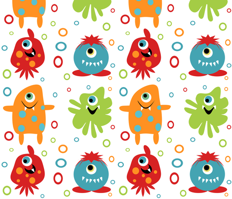 Oversize Monsters approx 10 inches fabric by tracydb70 on Spoonflower - custom fabric