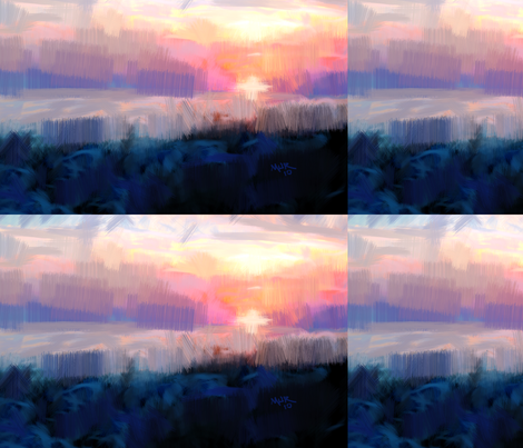 Blue sunset fabric by mur on Spoonflower - custom fabric