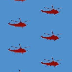 Helicopter: red on light blue